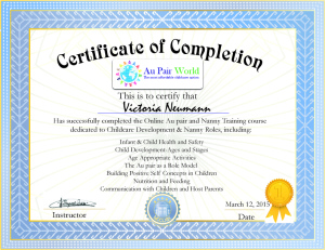 certificate of completion Aupair Wold